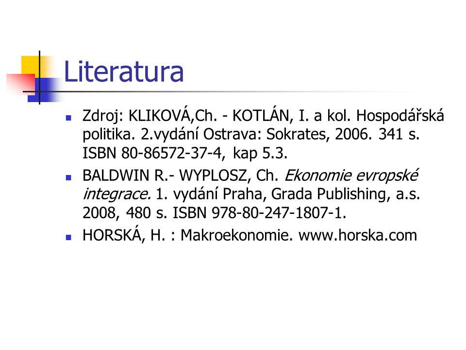 Literatura Zdroj: KLIKOVÁ,Ch. - KOTLÁN, I. a kol. Hospodářská politika. 2.vydání Ostrava: Sokrates, 2006. 341 s. ISBN 80-86572-37-4, kap 5.3.