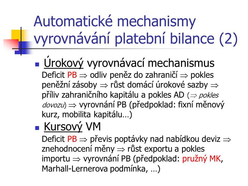 Automatické mechanismy vyrovnávání platební bilance (2)