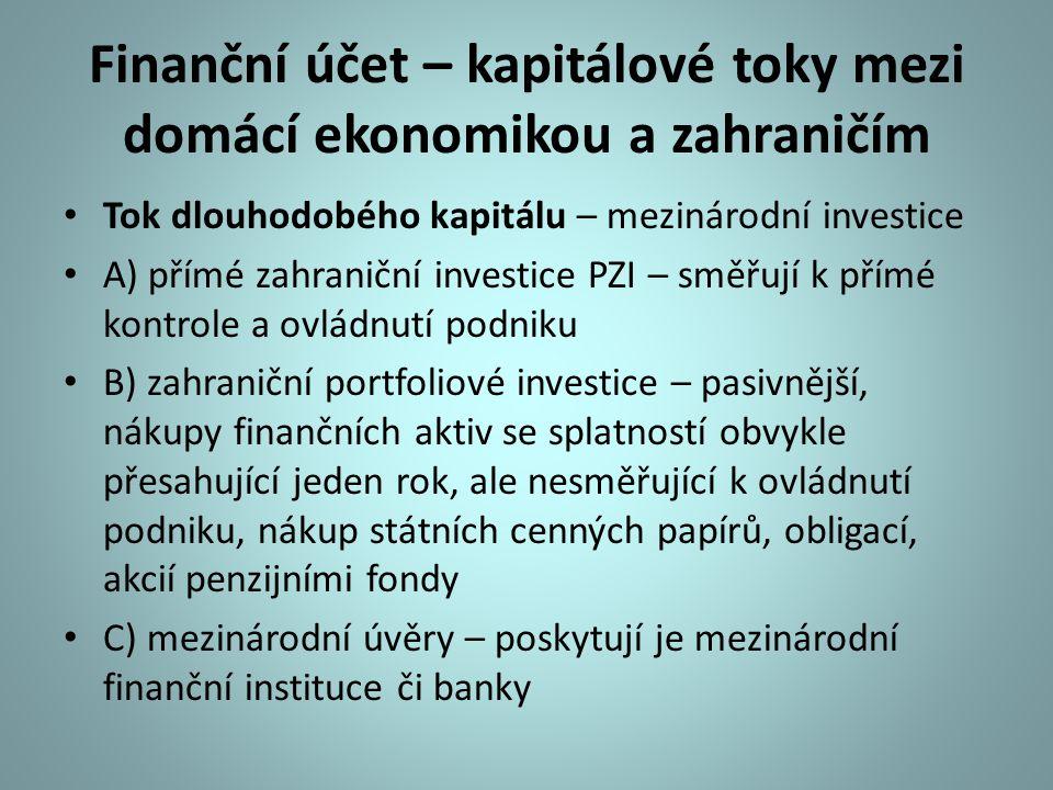 Finanční účet – kapitálové toky mezi domácí ekonomikou a zahraničím