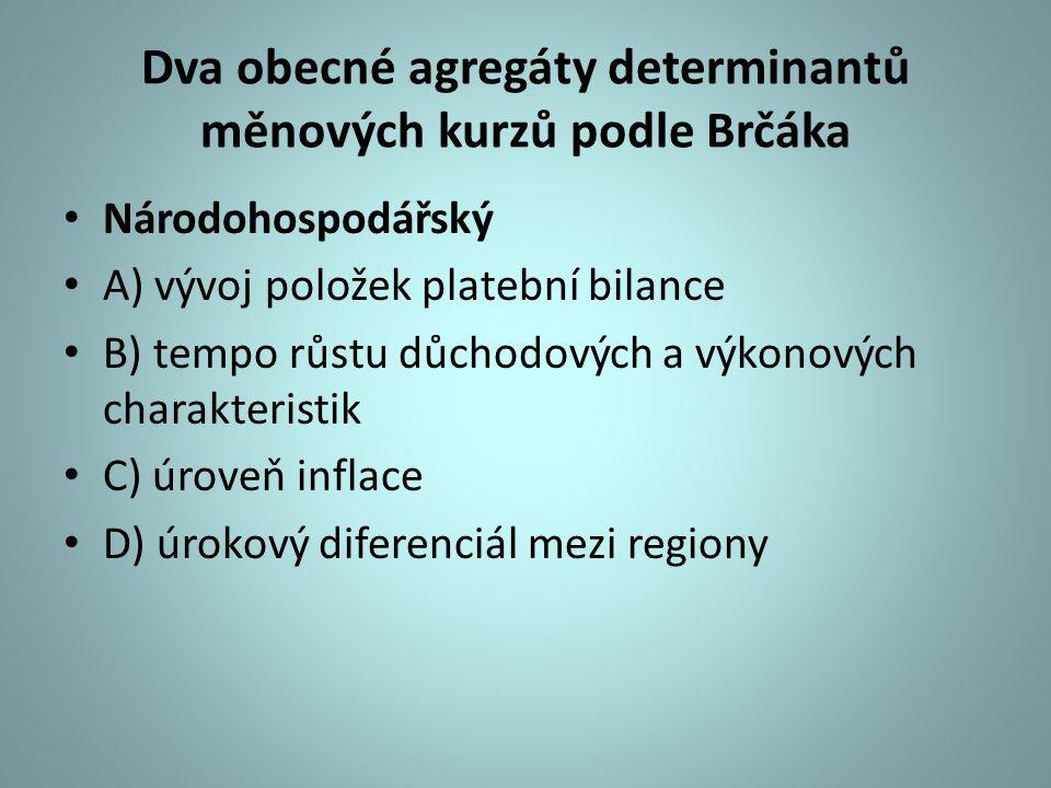 Dva obecné agregáty determinantů měnových kurzů podle Brčáka