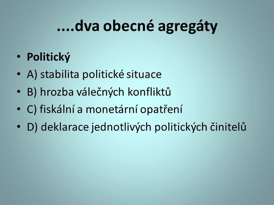 ....dva obecné agregáty Politický A) stabilita politické situace