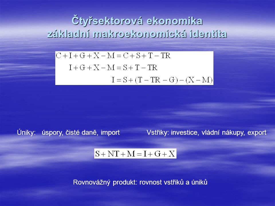 Čtyřsektorová ekonomika základní makroekonomická identita