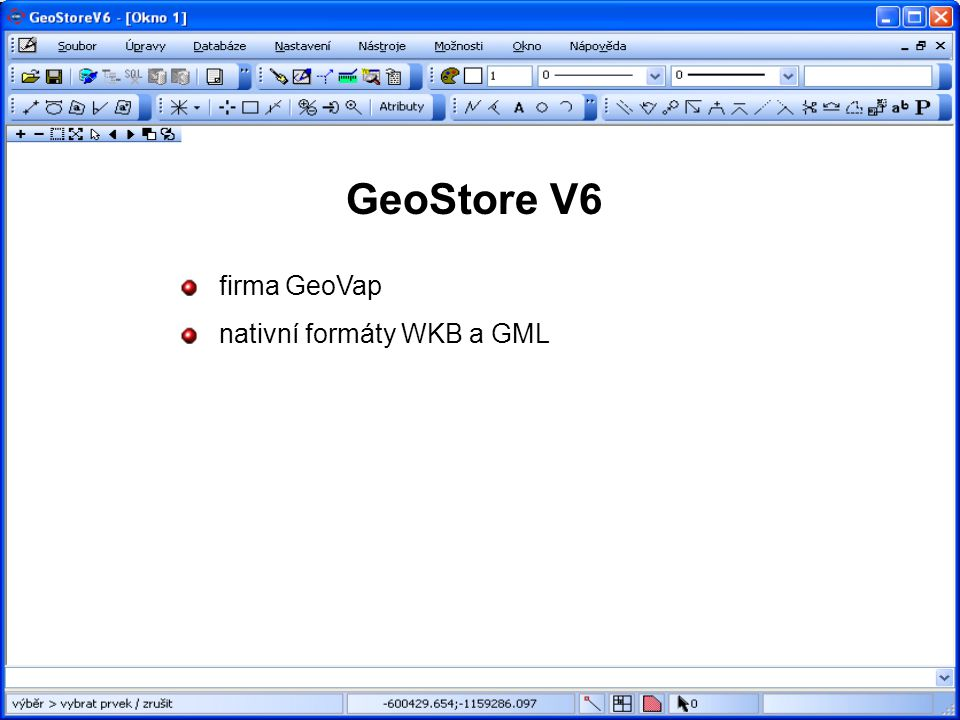 GeoStore V6 firma GeoVap nativní formáty WKB a GML