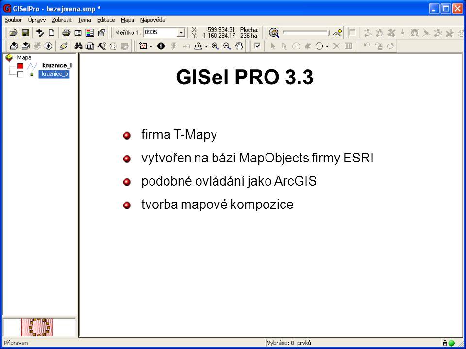 GISel PRO 3.3 firma T-Mapy vytvořen na bázi MapObjects firmy ESRI