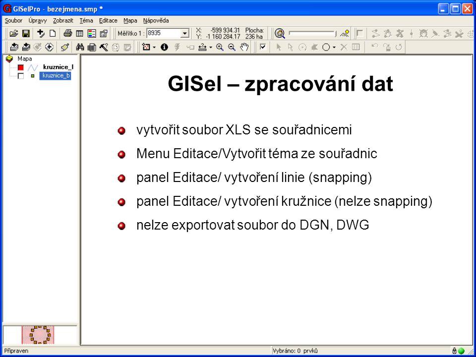 GISel – zpracování dat vytvořit soubor XLS se souřadnicemi
