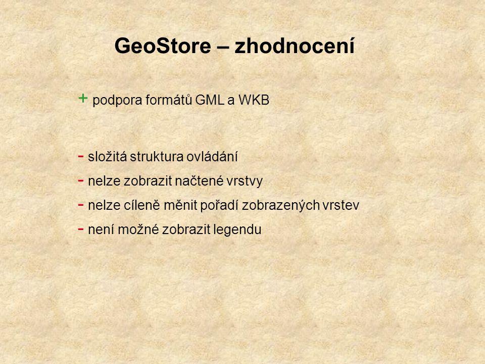 GeoStore – zhodnocení podpora formátů GML a WKB