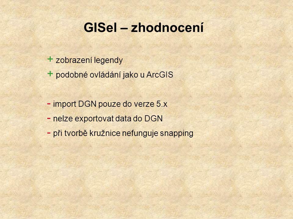 GISel – zhodnocení zobrazení legendy podobné ovládání jako u ArcGIS