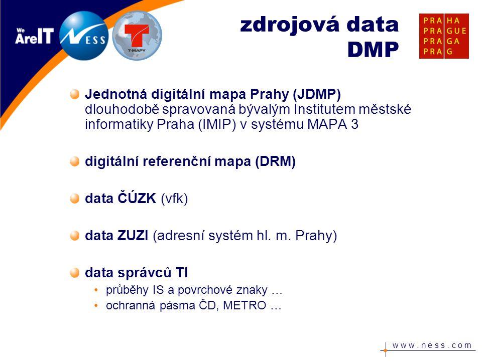 zdrojová data DMP Jednotná digitální mapa Prahy (JDMP) dlouhodobě spravovaná bývalým Institutem městské informatiky Praha (IMIP) v systému MAPA 3.