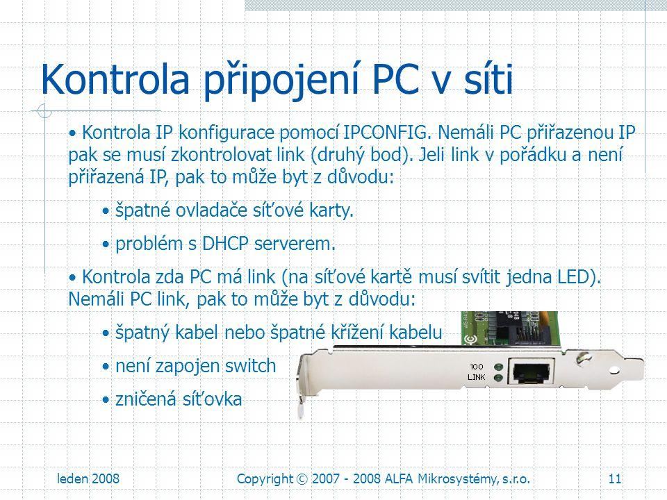 Kontrola připojení PC v síti
