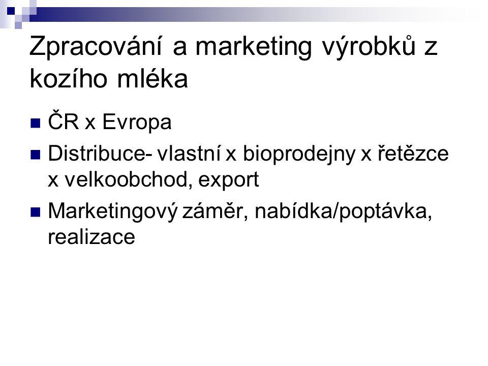 Zpracování a marketing výrobků z kozího mléka