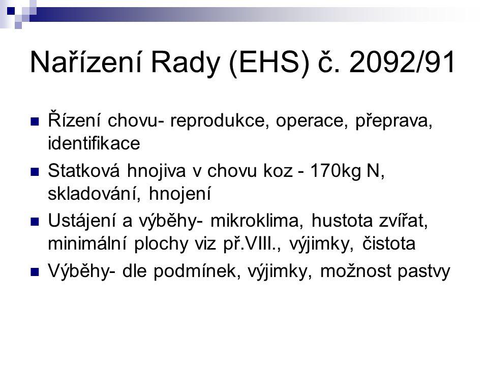 Nařízení Rady (EHS) č. 2092/91 Řízení chovu- reprodukce, operace, přeprava, identifikace.