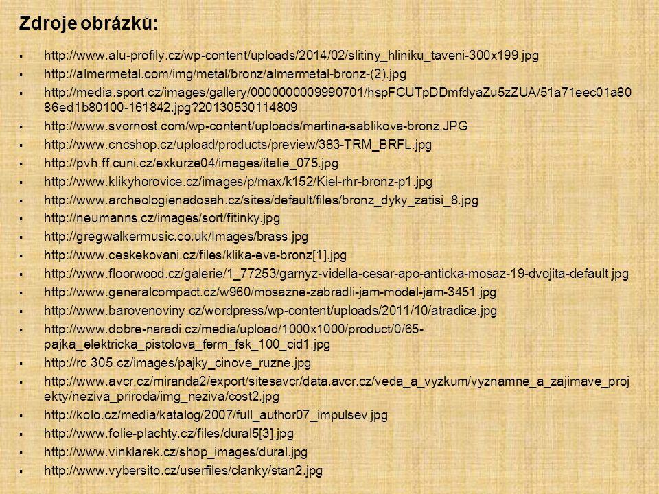 Zdroje obrázků: http://www.alu-profily.cz/wp-content/uploads/2014/02/slitiny_hliniku_taveni-300x199.jpg.