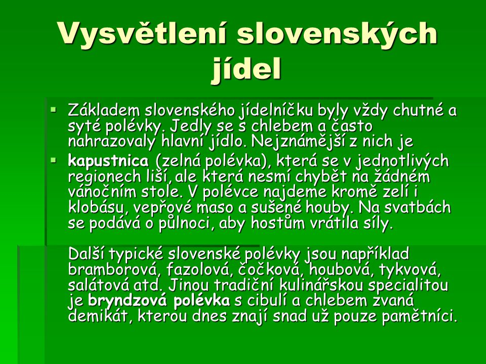 Vysvětlení slovenských jídel