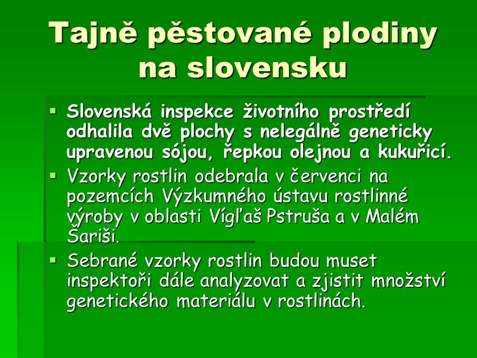 Tajně pěstované plodiny na slovensku