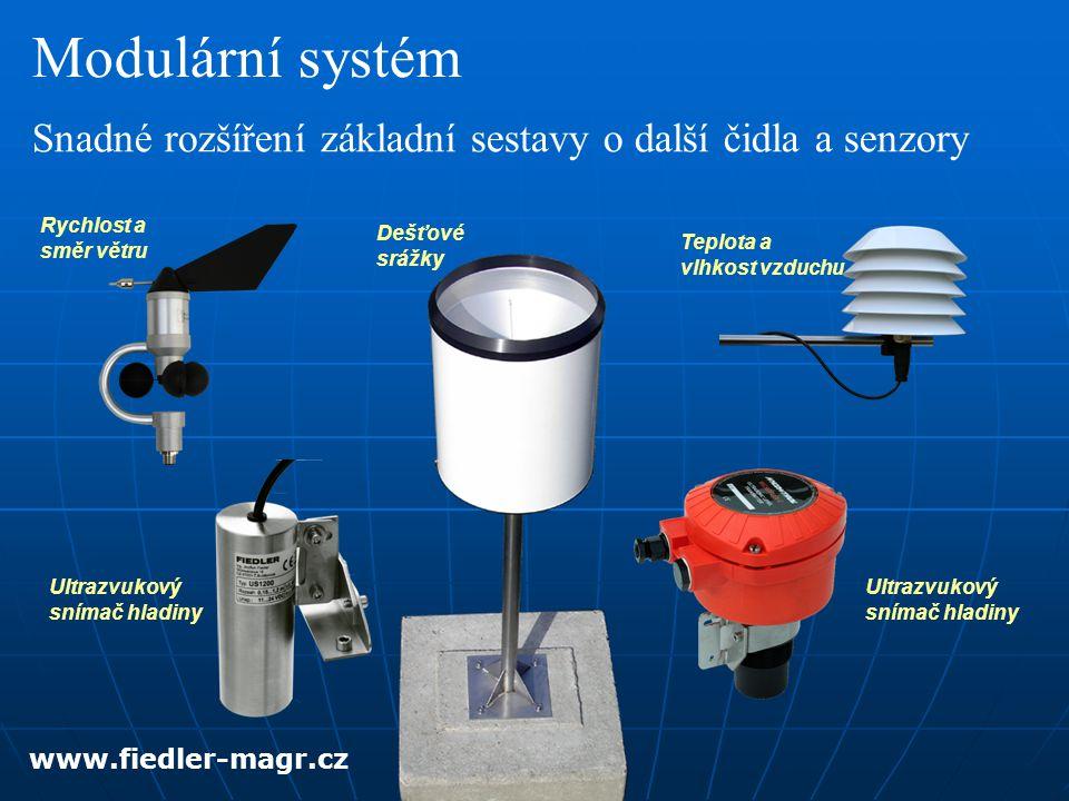 Modulární systém Snadné rozšíření základní sestavy o další čidla a senzory. Rychlost a směr větru.