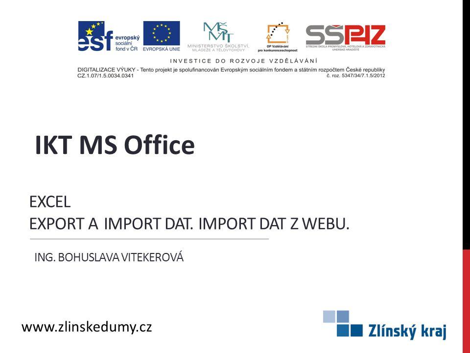 Excel export a import dat. Import dat z webu.