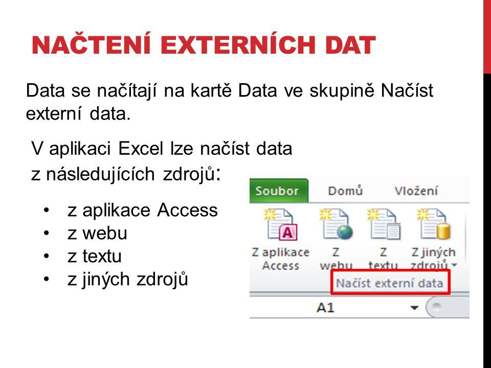 Načtení externích dat Data se načítají na kartě Data ve skupině Načíst externí data. V aplikaci Excel lze načíst data z následujících zdrojů: