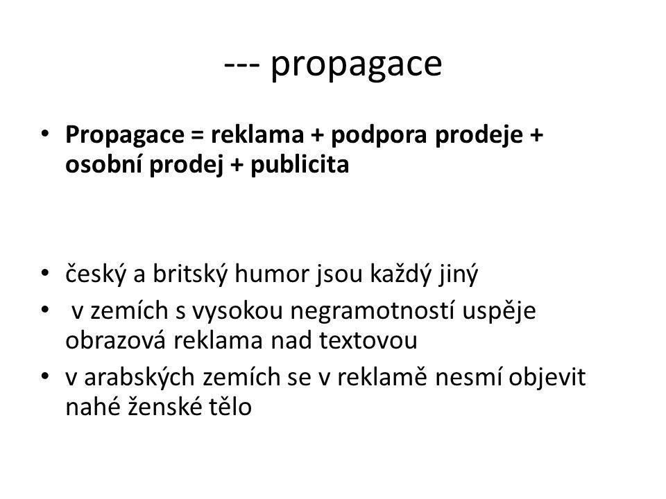 --- propagace Propagace = reklama + podpora prodeje + osobní prodej + publicita. český a britský humor jsou každý jiný.