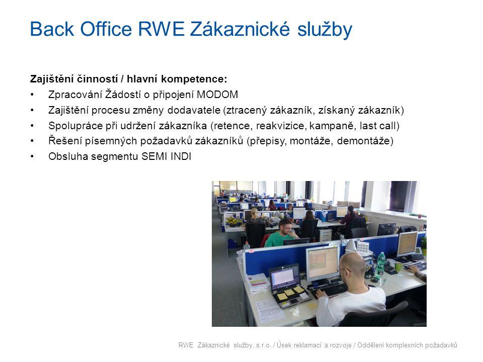Back Office RWE Zákaznické služby