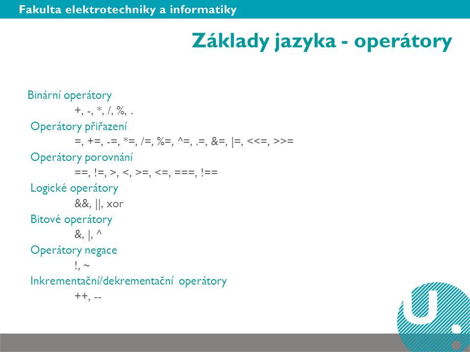 Základy jazyka - operátory