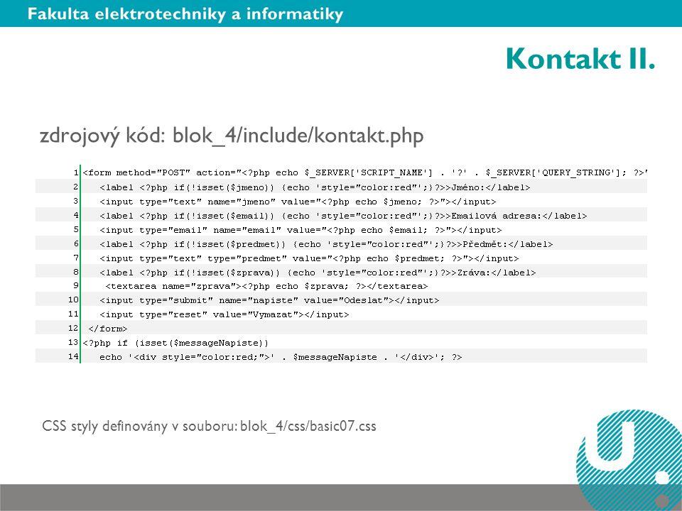 Kontakt II. zdrojový kód: blok_4/include/kontakt.php