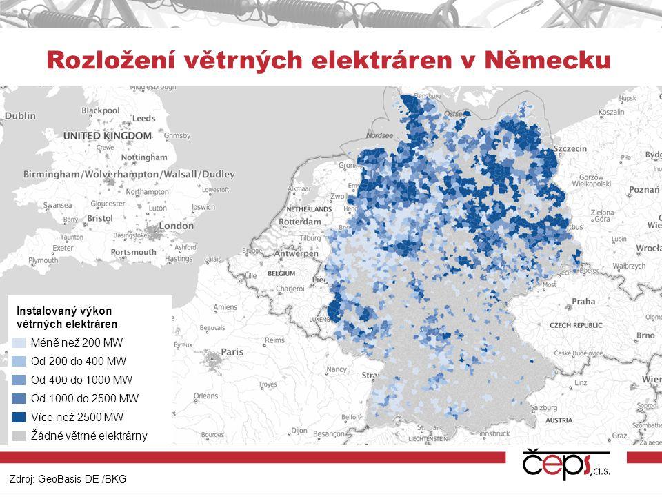 Rozložení větrných elektráren v Německu
