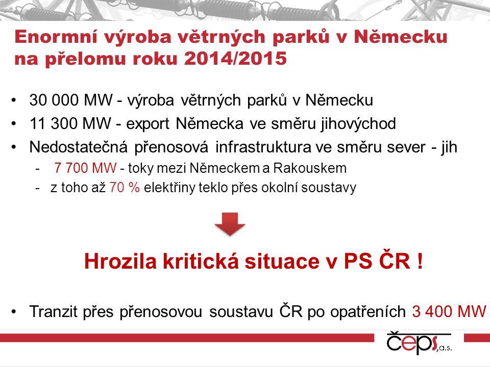 Enormní výroba větrných parků v Německu na přelomu roku 2014/2015