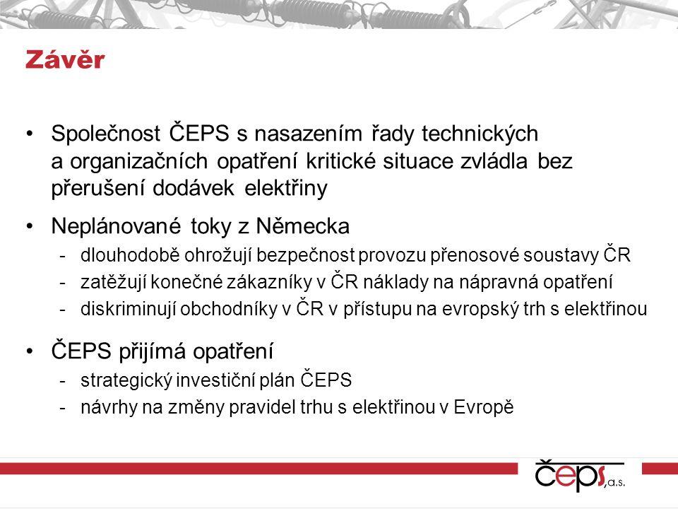 Závěr Společnost ČEPS s nasazením řady technických a organizačních opatření kritické situace zvládla bez přerušení dodávek elektřiny.