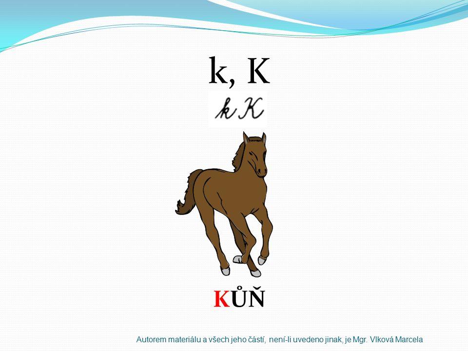 k, K KŮŇ Autorem materiálu a všech jeho částí, není-li uvedeno jinak, je Mgr. Vlková Marcela