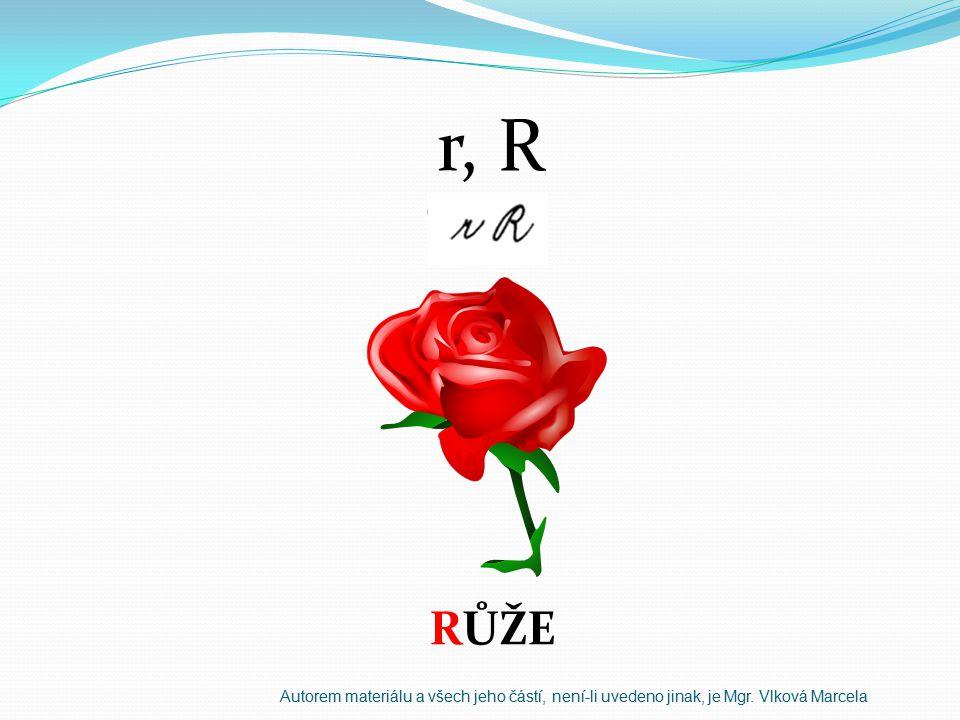 r, R RŮŽE Autorem materiálu a všech jeho částí, není-li uvedeno jinak, je Mgr. Vlková Marcela