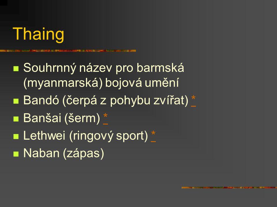 Thaing Souhrnný název pro barmská (myanmarská) bojová umění
