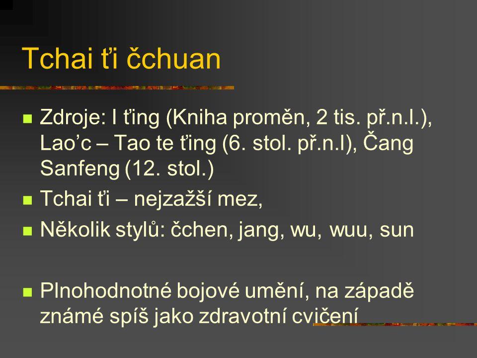 Tchai ťi čchuan Zdroje: I ťing (Kniha proměn, 2 tis. př.n.l.), Lao'c – Tao te ťing (6. stol. př.n.l), Čang Sanfeng (12. stol.)