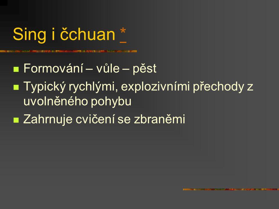 Sing i čchuan * Formování – vůle – pěst