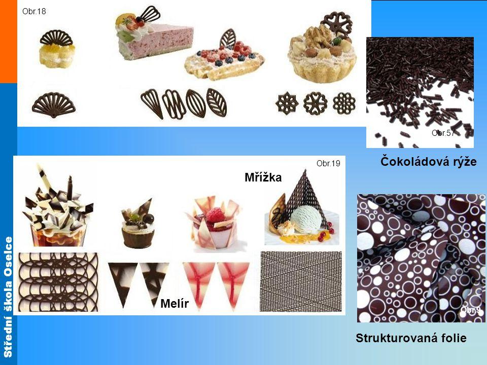 Ozdoby z čokolády Čokoládová rýže Mřížka Melír Strukturovaná folie