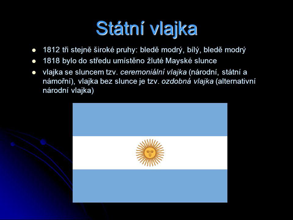 Státní vlajka 1812 tři stejně široké pruhy: bledě modrý, bílý, bledě modrý. 1818 bylo do středu umístěno žluté Mayské slunce.