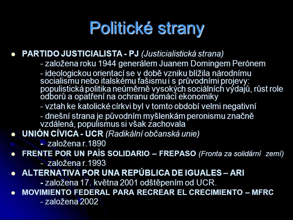 Politické strany PARTIDO JUSTICIALISTA - PJ (Justicialistická strana)