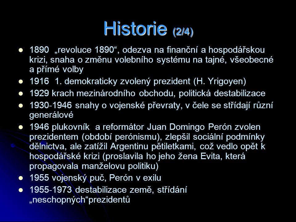 """Historie (2/4) 1890 """"revoluce 1890 , odezva na finanční a hospodářskou krizi, snaha o změnu volebního systému na tajné, všeobecné a přímé volby."""