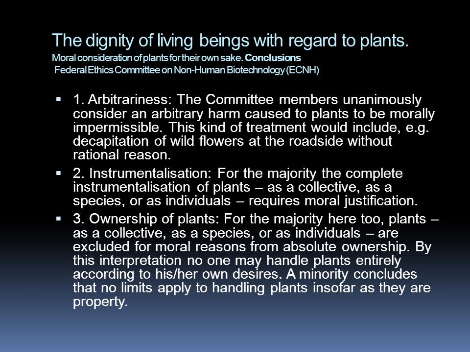 The dignity of living beings with regard to plants
