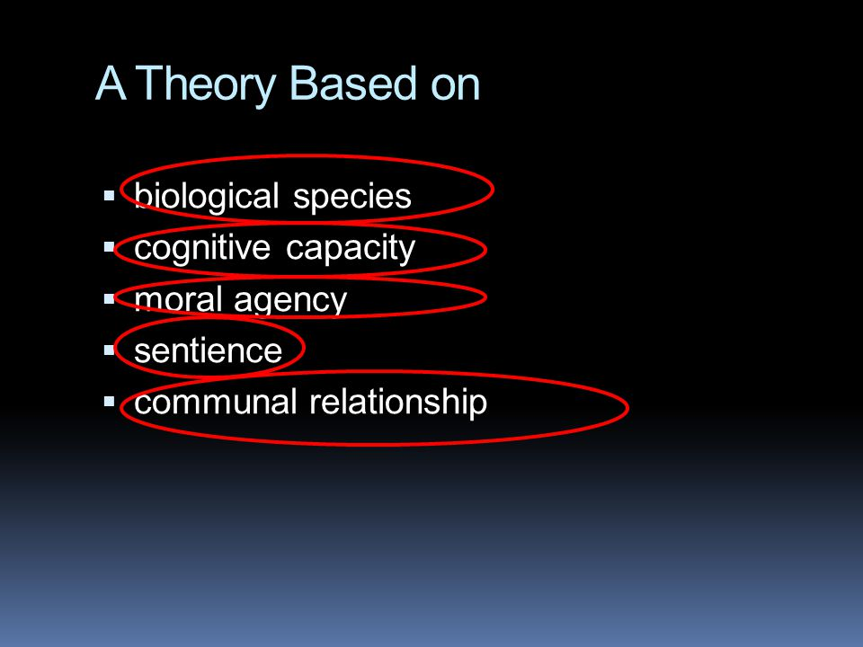 A Theory Based on biological species cognitive capacity moral agency