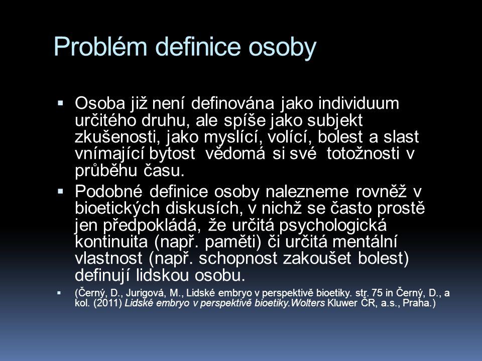 Problém definice osoby