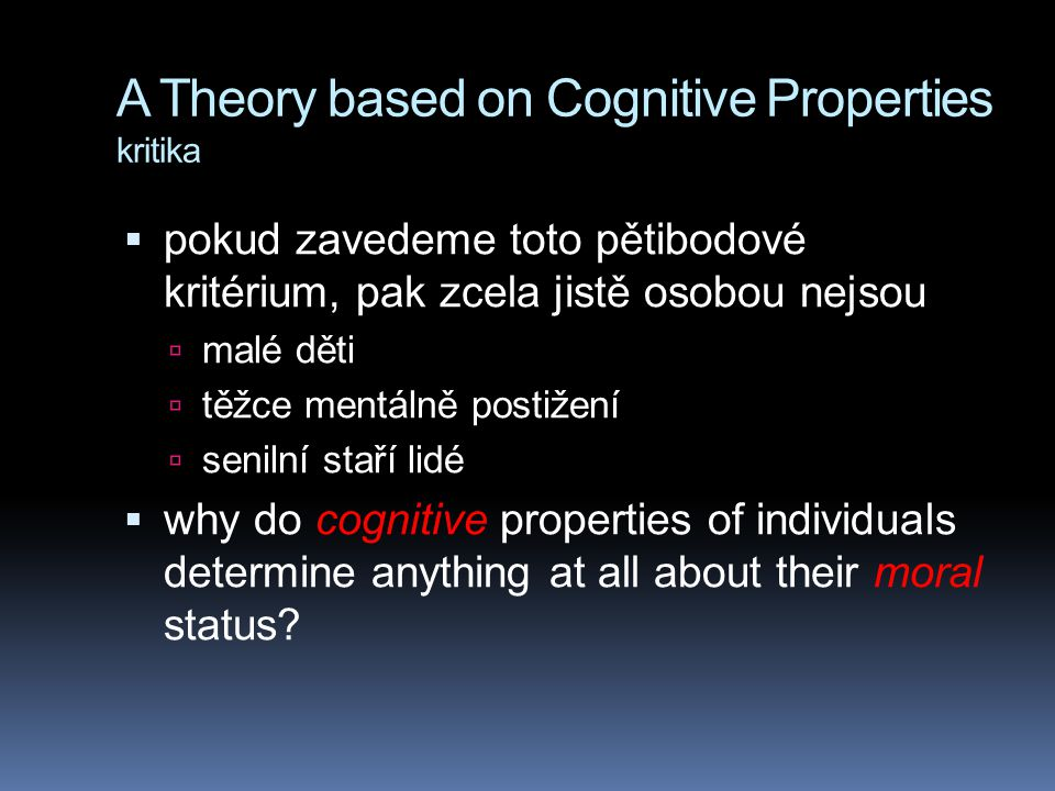 A Theory based on Cognitive Properties kritika