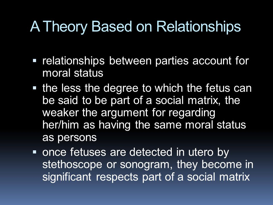 A Theory Based on Relationships