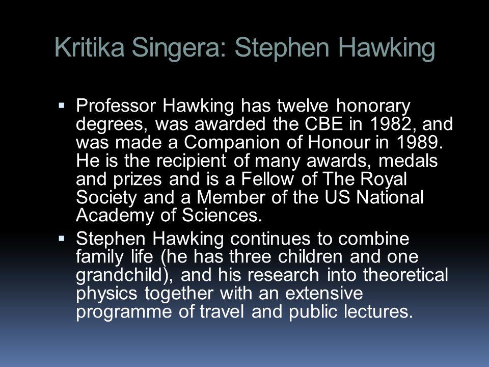 Kritika Singera: Stephen Hawking