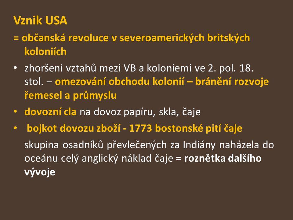Vznik USA = občanská revoluce v severoamerických britských koloniích