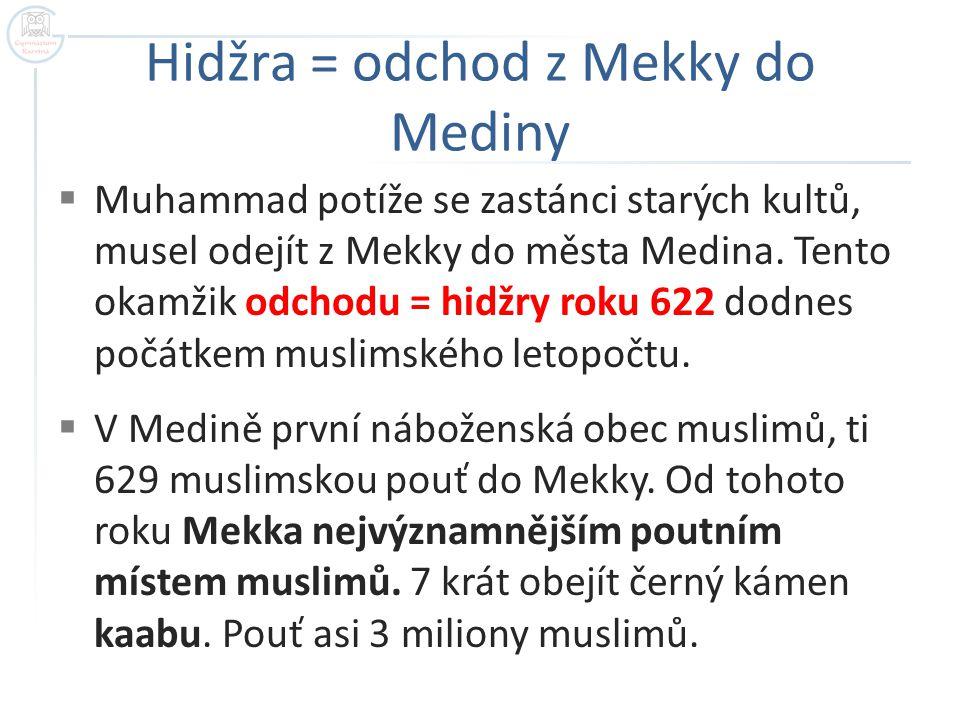 Hidžra = odchod z Mekky do Mediny