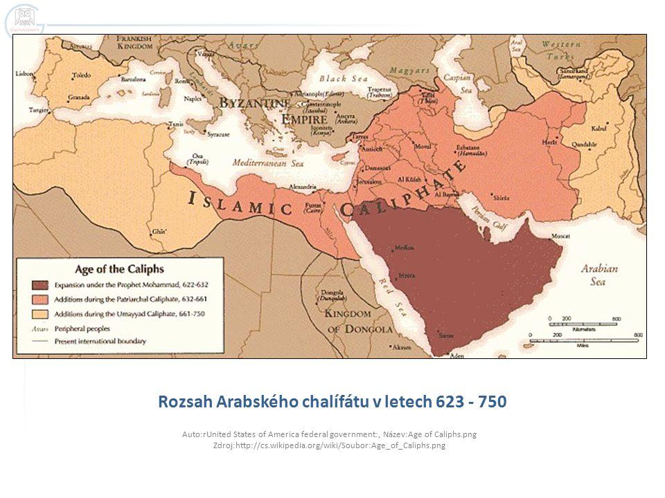 Rozsah Arabského chalífátu v letech 623 - 750