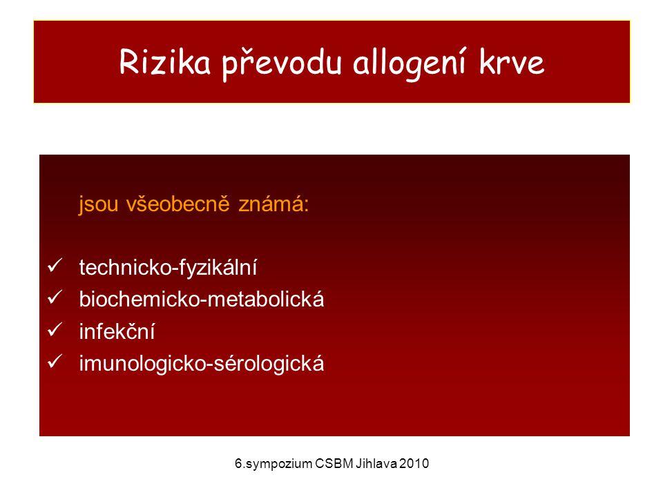 Rizika převodu allogení krve