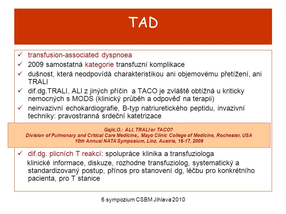 TAD transfusion-associated dyspnoea