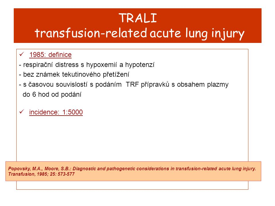 TRALI transfusion-related acute lung injury