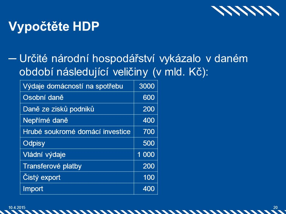 Vypočtěte HDP Určité národní hospodářství vykázalo v daném období následující veličiny (v mld. Kč):